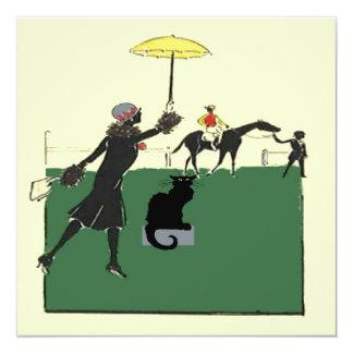 Black Cat At Horse Race Card