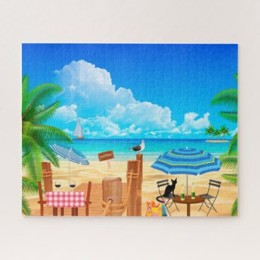Beach Themed BLACK CAT AT THE BEACH. BEACH PALM TREE PUZZLE