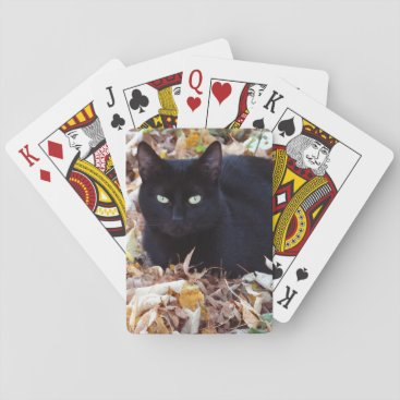 Halloween Themed Black Cat Autumn Photo Classic Playing Cards