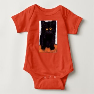 Black Cat Baby Jersey Romper
