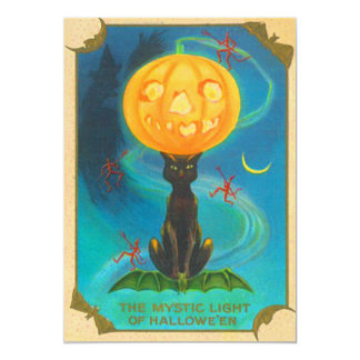 Black Cat Balancing Jack O Lantern Pumpkin Card