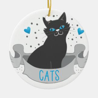 Black cat banner ceramic ornament