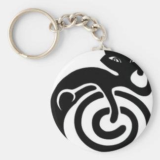 Black cat. basic round button keychain