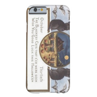 Black Cat Bat Farm Pumpkin Haystack Full Moon Barely There iPhone 6 Case