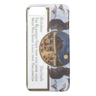 Black Cat Bat Farm Pumpkin Haystack Full Moon iPhone 7 Case