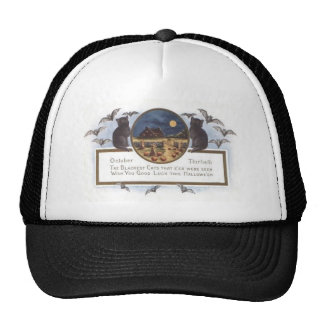 Black Cat Bat Farm Pumpkin Haystack Full Moon Trucker Hat