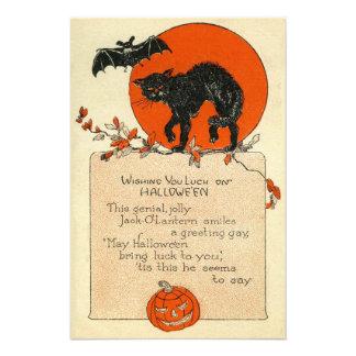 Black Cat Bat Full Moon Fall Leaves Photo Print
