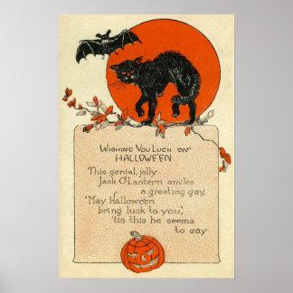 Black Cat Bat Full Moon Fall Leaves Poster