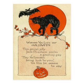 Black Cat Bat Full Moon Postcard