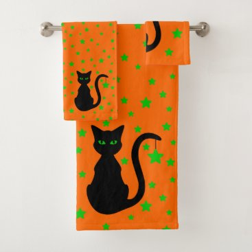 Halloween Themed Black Cat Bath Towel Set