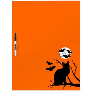 Black Cat & Bats Orange Halloween Dry Erase Board