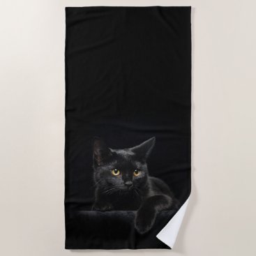 Beach Themed Black Cat Beach Towel