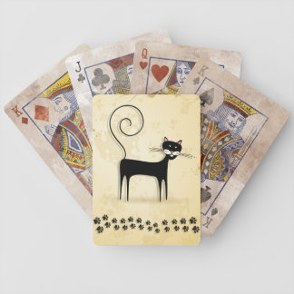 Black cat bicycle playing cards