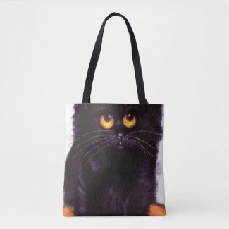 Black Cat Big Eyes Trick-Or-Treat Bag