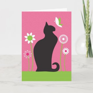 Black Cat Birthday Card card