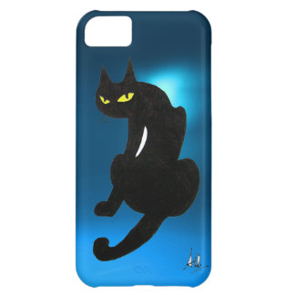 BLACK CAT blue Cover For iPhone 5C