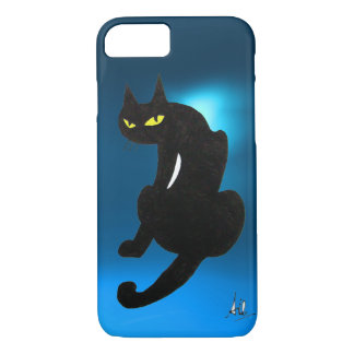 BLACK CAT blue iPhone 7 Case