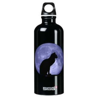 Black Cat Blue Moon Aluminum Water Bottle