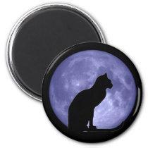 Black Cat Blue Moon Fridge magnet
