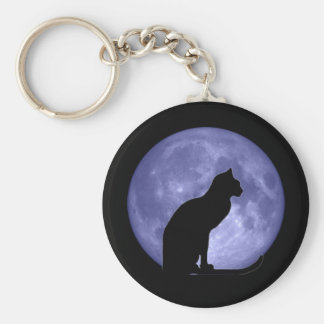 Black Cat Blue Moon Keychain
