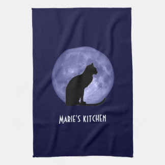 Black Cat Blue Moon Kitchen Tea Towel