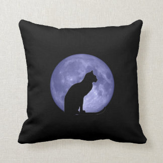 Black Cat Blue Moon Mojo Pillow