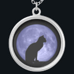 """Black Cat Blue Moon necklace<br><div class=""""desc"""">A black cat on a blue moon - how lucky can you be! Customise to add your own text.</div>"""