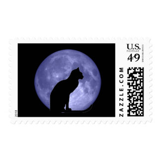 Black Cat Blue Moon postage stamps