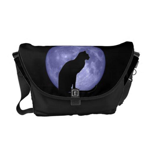 Black Cat Blue Moon Rickshaw Messenger Bag