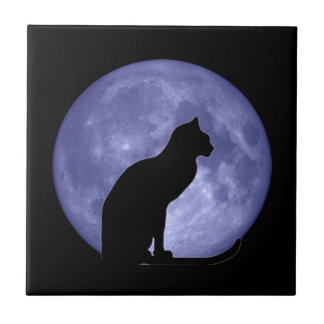 Black Cat Blue Moon Tile Trivet