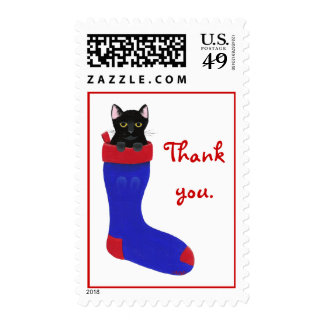 Black Cat Blue Stocking Thank You Christmas Stamps