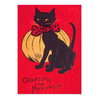 Black Cat Bowtie Pumpkin Vintage 5x7 Paper Invitation Card