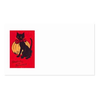 Black Cat Bowtie Pumpkin Vintage Business Card