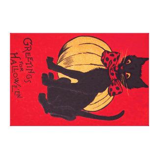 Black Cat Bowtie Pumpkin Vintage Canvas Print