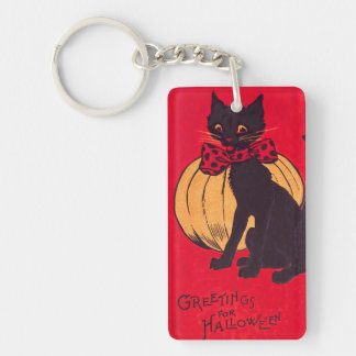 Black Cat Bowtie Pumpkin Vintage Double-Sided Rectangular Acrylic Keychain