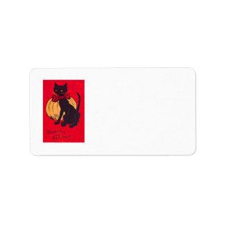 Black Cat Bowtie Pumpkin Vintage Label