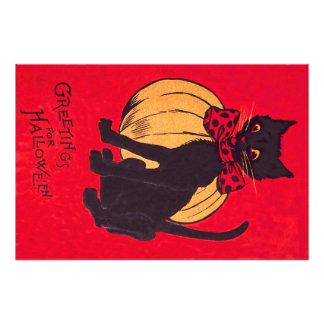 Black Cat Bowtie Pumpkin Vintage Photo Print