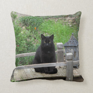 Black Cat Bridge Throw Pillow