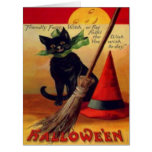 Black Cat Broom Witch's Hat Full Moon Card