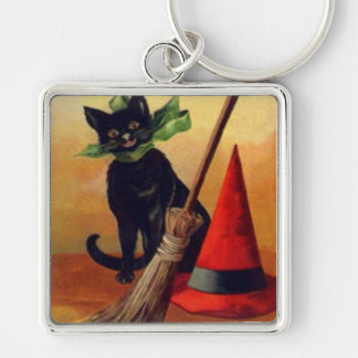 Black Cat Broom Witch's Hat Full Moon Keychain