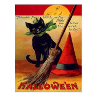 Black Cat Broom Witch's Hat Full Moon Postcard
