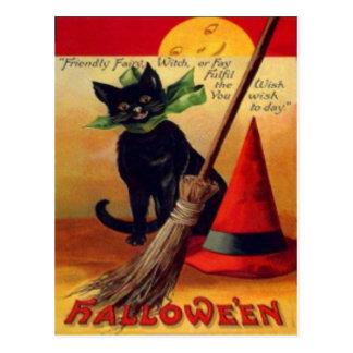 Black Cat Broom Witch's Hat Full Moon Postcard