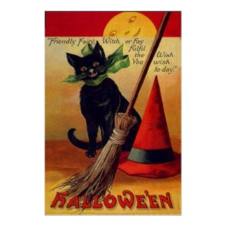 Black Cat Broom Witch's Hat Full Moon Poster