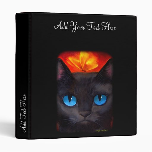Black Cat Butterfly Painting Art - Multi Binder