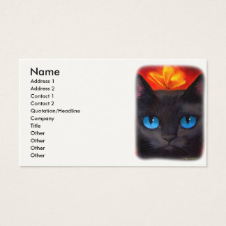 Black Cat Butterfly Painting Art - Multi Business Card
