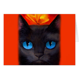 Black Cat Butterfly Painting Art - Multi Greeting Card