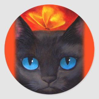 Black Cat Butterfly Painting Art - Multi Classic Round Sticker
