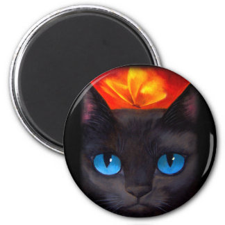 Black Cat Butterfly Painting Art - Multi 2 Inch Round Magnet