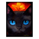Black Cat Butterfly Painting Art - Multi Postcards