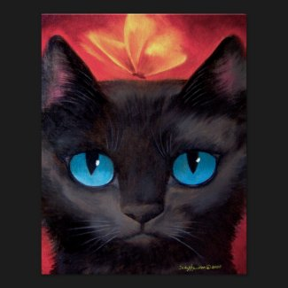 Black Cat Butterfly Painting - Poster print